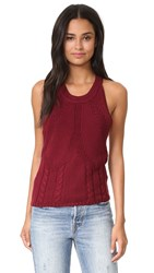 One Teaspoon Frontier Cable Knit Sweater Tank Bordeaux