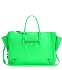 Balenciaga Papier B4 Zip Around Leather Shoulder Bag Green