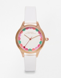 Johnny Loves Rosie Scalloped Dial Strap Watch White