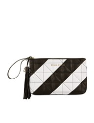 Sonia Rykiel Black Quilted Leather Zipped Pouch Multi