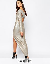 The 8Th Sign Irredescent Sequin Plunge Neck Cross Back Maxi Dress With Deep Thigh Split Gold