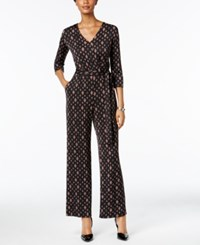 Ny Collection Petite Belted Printed Wide Leg Jumpsuit Red Lozeng
