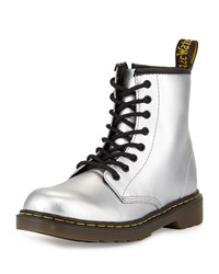Dr. Martens Delaney Metallic Leather Military Boot Silver Youth
