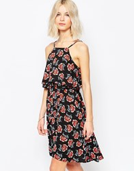 Brave Soul Poppy Print Sun Dress Black Red