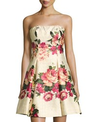 Nicole Miller New York Strapless Floral Print Dress Red Multi