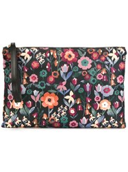 Red Valentino Floral Print Clutch Black