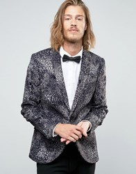 Noose And Monkey Super Skinny Blazer In Faux Fur Leopard Print Grey