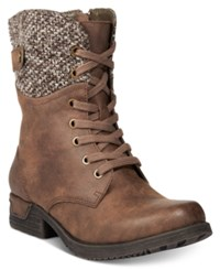 White Mountain Raymond Lace Up Hiking Boots Women's Shoes Cognac