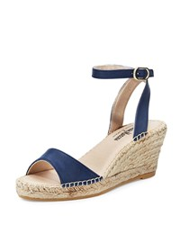 Neiman Marcus Made In Spain Jumana Leather Wedge Sandal Navy