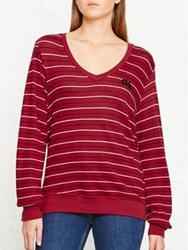 Wildfox Couture Not Ok Striped Top Burgundy