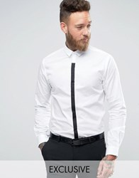 Noose And Monkey Contrast Placket Shirt White Black Placket