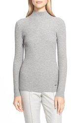Akris 'Fantasy' Mock Neck Cashmere And Silk Knit Sweater Quarzite