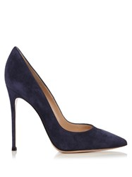 Gianvito Rossi Point Toe Suede Pumps Navy