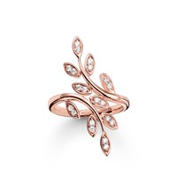 Thomas Sabo Fairy Twines Rose Gold Leaf Ring White