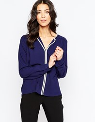 Traffic People Blouse With Contrast Trim Navy