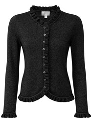 Pure Collection Gwynne Ruffle Edge Cardigan Black Sparkle