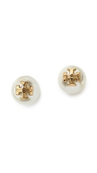 Tory Burch Evie Imitation Pearl Stud Earrings Ivory