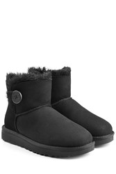 Ugg Australia Shearling Lined Suede Boots With Button Black