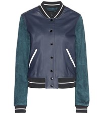 Rag And Bone Alix Leather And Suede Jacket Blue