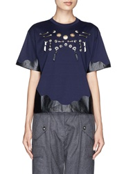 Toga Archives Brass Embellishment Wavy Trim T Shirt Blue