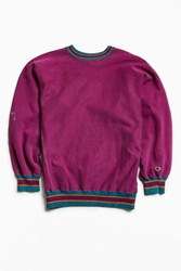 Urban Outfitters Vintage Champion Contrast Ribbed Crew Neck Sweatshirt Purple