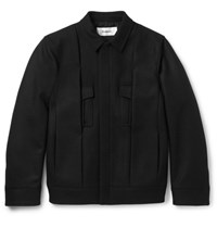 Chalayan Pleated Virgin Wool Blend Twill Jacket Black