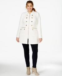 Inc International Concepts Plus Size Military Zip Front Coat Only At Macy's Washed White