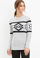 Forever 21 Tribal Pattern Sweater Heather Grey Black