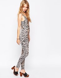 Motel Unitard In Animal Print Wild