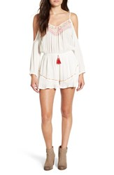 Band Of Gypsies Women's Embellished Cold Shoulder Romper Ivory Coral