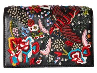Alice Olivia Embroidered Leather Bird Party Clutch Black