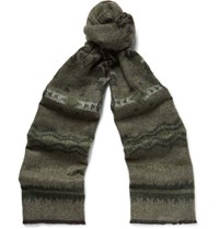 Valentino Printed Double Faced Knitted Scarf Army Green