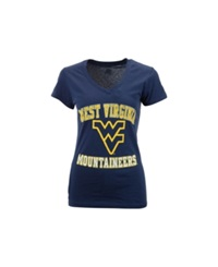Soffe Women's West Virginia Mountaineers V Neck T Shirt Navy