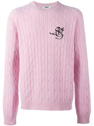 Msgm Logo Print Cable Knit Jumper Pink And Purple