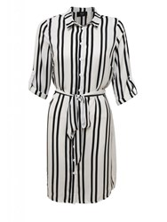 Ax Paris Striped Shirt Dress Cream