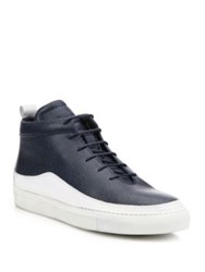 Public School Pebbled Leather High Top Sneakers Navy