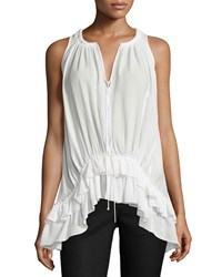 Elizabeth And James Mirla Sleeveless Ruffle Hem Top Ivory