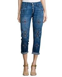 Current Elliott The Fling Cropped Jeans W Embroidery Blue