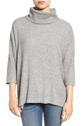 Bobeau Women's Split Back Rib Cowl Neck Sweater Heather Grey