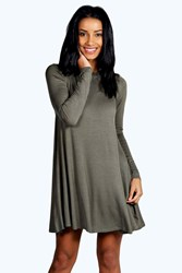 Boohoo Scoop Neck Long Sleeve Swing Dress Khaki