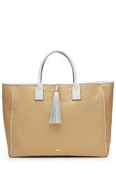 Melissa Odabash Barbados Canvas And Leather Tote Beige
