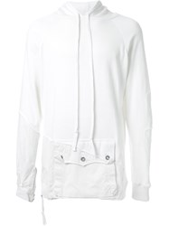 Greg Lauren Reconstructed Relaxed Fit Hoodie White