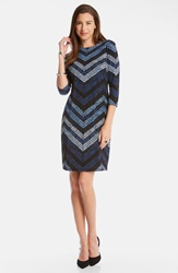 Karen Kane 'Cerulean Chevron' Print Shift Dress