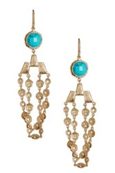 Melinda Maria Kristina Turquoise And Cz Drape Earrings Metallic