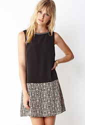 Forever 21 Fancy Drop Waist Dress Black Tan