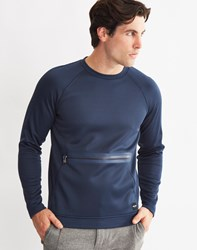 Only And Sons Mens Scuba Sweatshirt With Kangaroo Zip Pocket Blue