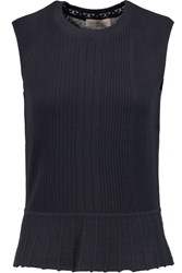 Tory Burch Margaret Ribbed Silk And Cashmere Blend Tank Blue