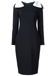Christian Siriano Cold Shoulder Fitted Dress Black