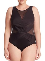 Miraclesuit Swim Plus Size One Piece Palma Sheer Panel Swimsuit Black