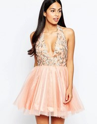 Rare Opulence Organza Dress With Plunge Neck Pink